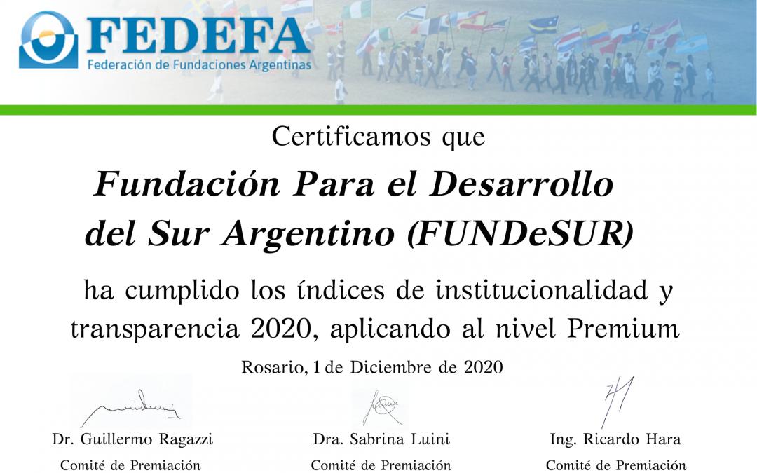 """Premio FEDEFA a la """"SOLIDARIDAD Y TRANSPARENCIA 2020"""""""